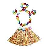Kid's Elastic Hawaiian Hula Dancer Grass Skirt with Flower Costume Set -Multi-color
