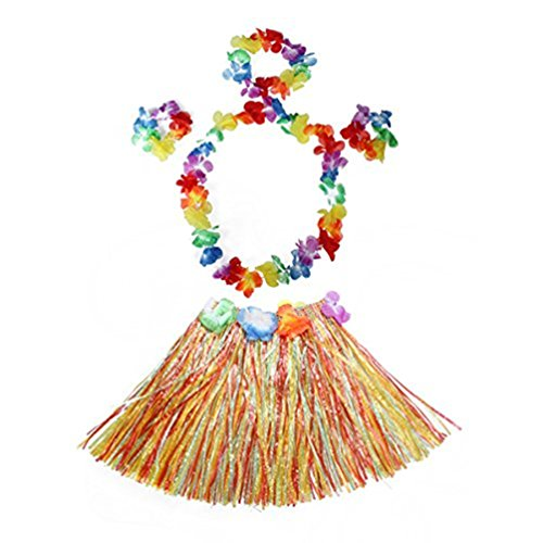 Kid's Elastic Hawaiian Hula Dancer Grass Skirt with Flower Costume Set -Multi-color (Flower Hula Skirt)