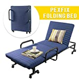 PexFix Folding Bed with Memory Foam Mattress, Rollaway Bed Premium Luxurious Adjustable Rolling Cot Guest Bed (Navy Blue)