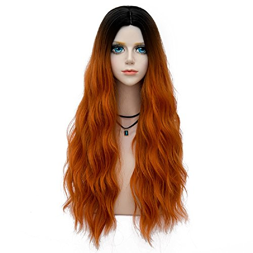Forest Lady Collection Ombre Dark Root Long Curly Women Lolita Anime Cosplay Wig + Wig Cap (70cm, Orange F15) ()
