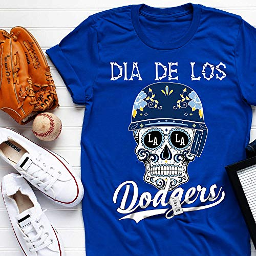 Dia De Los Dodger-Halloween Sugar Skull Day Of Death Floral Customized Handmade T-Shirt Hoodie/Long Sleeve/Tank Top/Sweatshirt (Day Of The Dead Long Sleeve T Shirts)