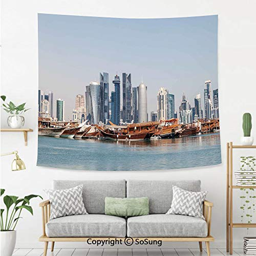 Modern Wall Tapestry,Qatar City Skyline at Dhow Middle Eastern Coast with Ships Skyscrapers View,Bedroom Living Room Dorm Wall Hanging,60X50 Inches,Light Blue Cinnamon