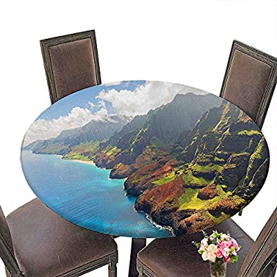 """RoundTable Cloth for Foot Table in Washable Polyester(Elastic Edge) suitable for all occasions, (29.5""""round)Hawaiian Decorations Na Pali Coast On Kauai sland Clear Water Sunshines Foggy Cloudscape Pa"""