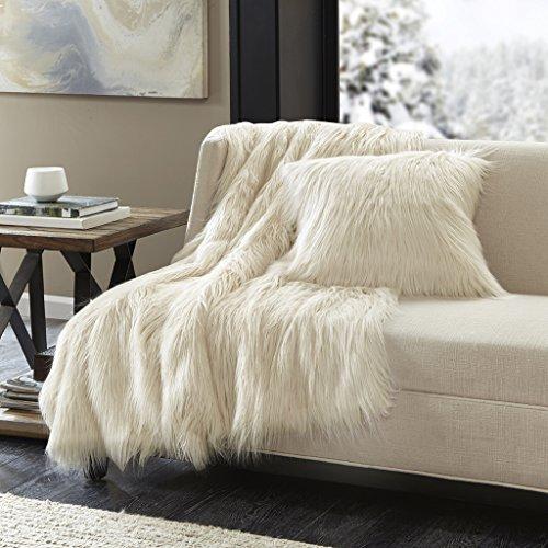 (Madison Park Edina Luxury Faux Fur Throw Ivory 5060    Premium Soft Cozy Faux Fur For Bed, Coach or Sofa)
