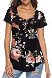 Neitade Women's Shirts and Blouses Short Sleeve Button Up Tunic Tops