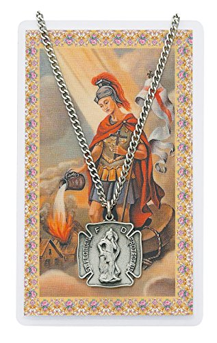 Saint Florian Shield Shaped Pewter Medal Pendant Necklace with Holy Prayer - Necklace Medal Holy