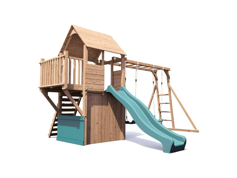 Wooden Playhouse Climbing Frame Childrens Outdoor Play Tower Monkey ...