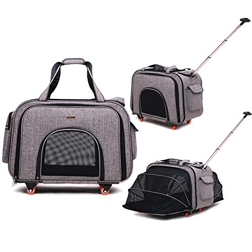 CT COUTUDI Pet Luggage with Wheels Removable Wheeled Pet Carrier Expandable Soft Sided Pet Tote Carriers Bags Perfect Dog Cat Carrier with Removable Fleece Mat (Grey)