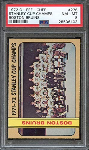 1972-73 O-PEE-CHEE #276 BOSTON BRUINS STANLEY CUP WINNERS PSA 8 BRUINS