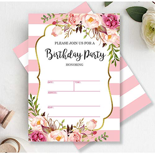 Mocsicka Pink and White Stripes Birthday Invitations Floral Striped Birthday Party Invite, 20 Fill in Invitations and Envelopes