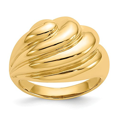 Size 7 - Solid 14k Yellow Gold Polished Swirl Dome Ring (15mm)