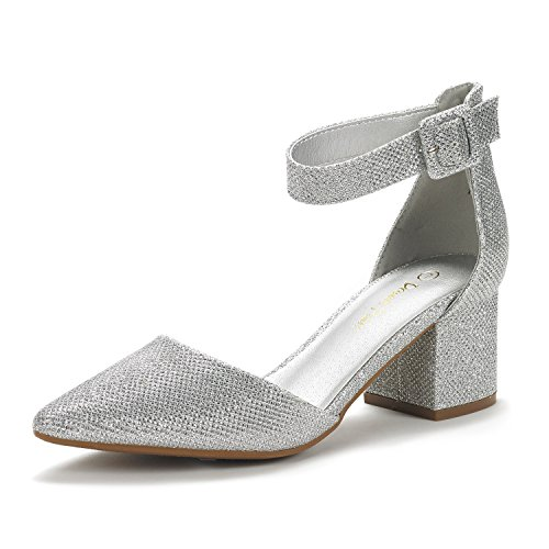 DREAM PAIRS Women's Annee Silver Glitter Low Heel Pump Shoes - 9 M US