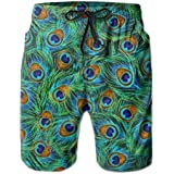 PTYHR Mens Quick Dry Beach Shorts, Beautiful Peacock Feathers Green Swim Trunks, Swim Surfing, Elastic Waist Drawstring Board Shorts, Summer Shorts Wear