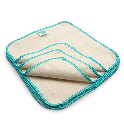 Bumkins Reusable Flannel Wipes, 24 Count, Natural - 2 Packs of 12