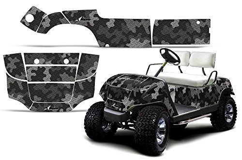 f Cart AMRRACING ATV Graphics Decal Kit-Camo Plate-Black (Yamaha Atv Graphics Kit)