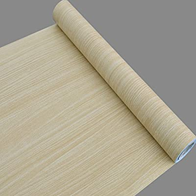 SimpleLife4U Beige Wood Grain Self Adhesive PVC Wallpaper Home Room Decorative Mural 17.7 Inch by 32.8 Feet
