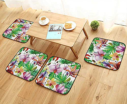 - Elastic Cushions Chairs Abstract Watercolor Hand Painted Backgrounds with Magnolia,Lily,Orchid Flowers for Living Rooms W29.5 x L29.5/4PCS Set