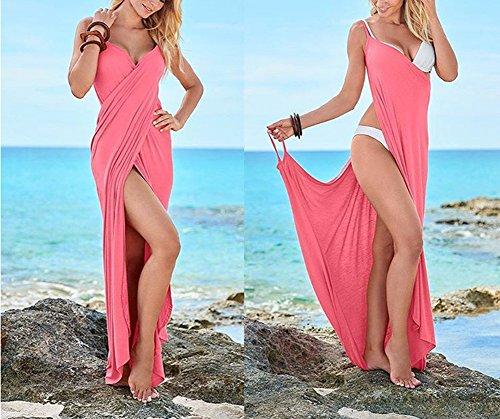 Dalla Bikini Maxi Involucro Donne Profondo Sexy Del Backless V Rosa Sposa Scollo Amore A Lungo Spiaggia Delle qYWAWnP