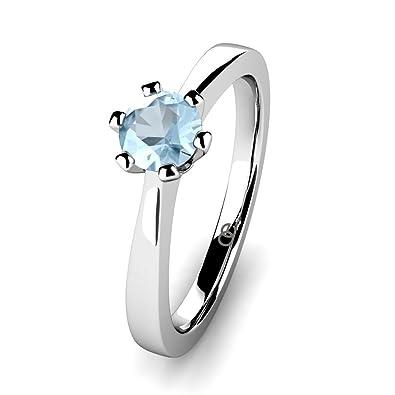 Moncoeur Verlobungsring Eternite Aquamarin 925 Sterling Silber