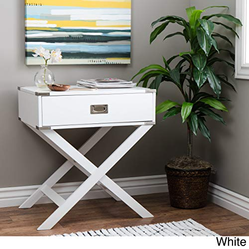Inspire Q Kenton X Base Wood Accent Campaign Table by Bold White Painted (Campaign Table)