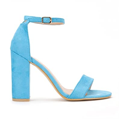 32cab7691f678 Shoe Closet Ladies Turquoise Blue Barely There Peep Toes Strappy Sandals  High Heels UK8/EURO41