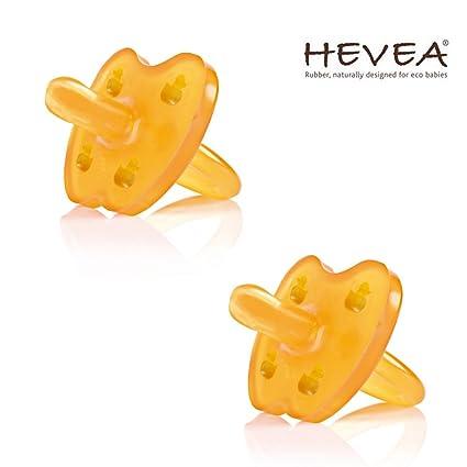 Hevea Chupete//3 – 36 meses//caucho natural//Diseño Pato//Juego De 2//forma simétrica