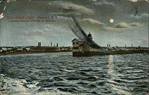 (Goat Island Light Newport, Rhode Island Original Vintage Postcard)