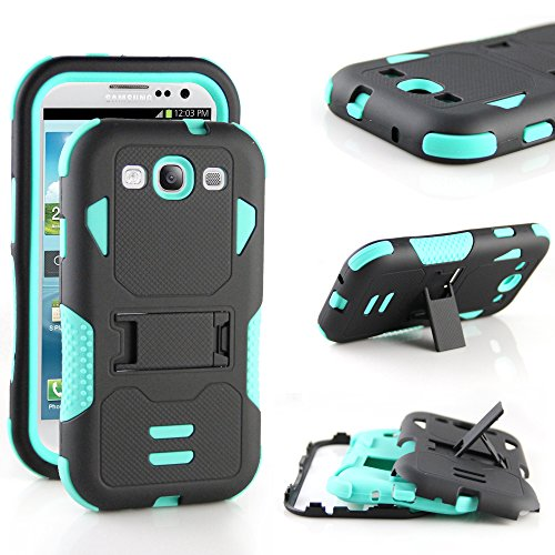 Galaxy S3 Case,RANZ (Mint/ Black) Rugged Impact Armor Hybrid Heavy Duty with Kickstand Cover For Samsung Galaxy S3 (i9300)