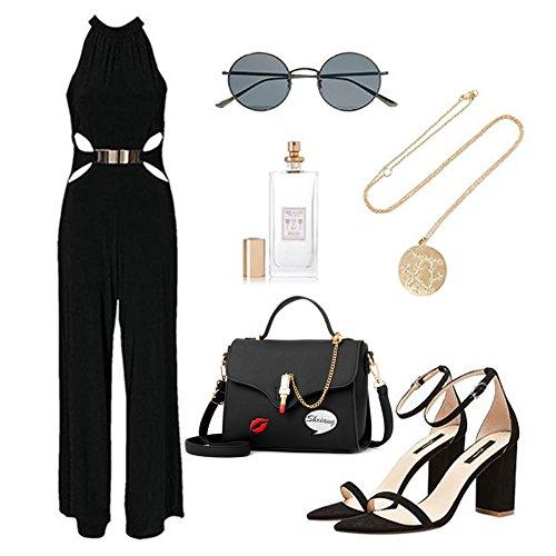 Yoome Lichee Pattern Handbags Decorazione Rossetto Borse Elegante per Donne Portafogli Donna Portafogli - Nero