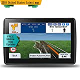 LONGRUF, Car Navigation System, 7-Inch High-Definition Display 8GB-256MB, The Latest Map in North America, Free Update map for Life
