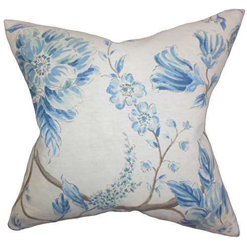- The Pillow Collection Ivria Floral Pillow, Lake
