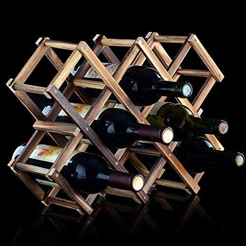 TURMZPY Vintage Wooden Collapsable Wine Rack Countertop Decorative 10 Bottle Roast