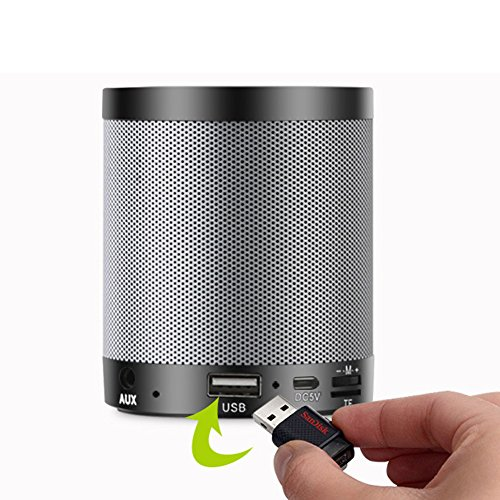 ETbotu elegantstunning Wireless Bluetooth Speaker with Portable Music MP3 Player Super Large Metal Subwoofer Black and Grey