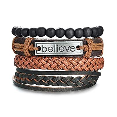 ZUOZUO Leather Wristband Retro Rope Woven Multi-Layer Leather Bracelet Wooden Beads String Rudder Punk Male Wristband Adjustable Length Estimated Price £22.99 -