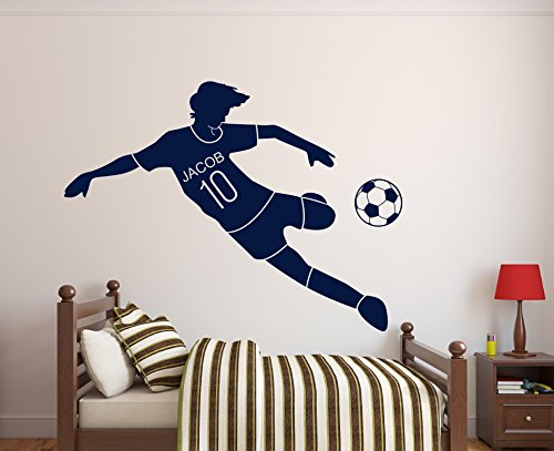 (Custom Soccer Name Wall Decal- Nursery Wall Decals - Soccer Decals for Walls - (30Wx18H) )