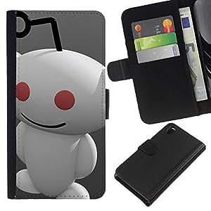 YiPhone /// Tirón de la caja Cartera de cuero con ranuras para tarjetas - Redd1t extranjero - Sony Xperia Z3 D6603