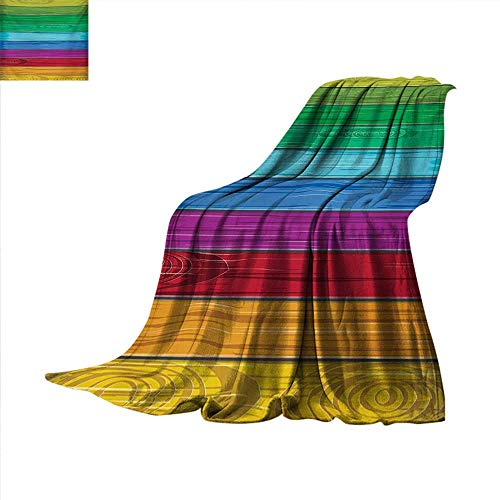 RainbowFlannel blanketAbstract Artful Style Colorful Wooden Wall Country Style Wall Illustration Printcouch Blanket 60