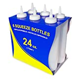 New Star Foodservice 26207 Squeeze Bottles, Plastic, 24 oz, Clear, Pack of 6