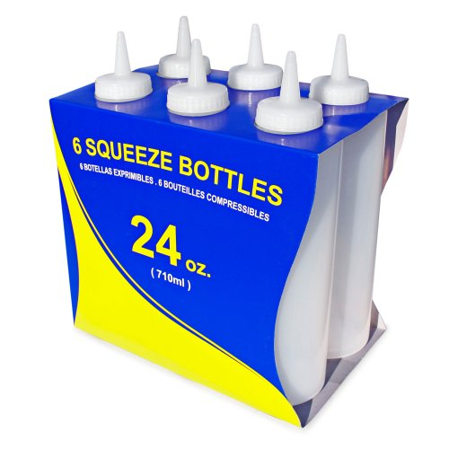 New Star Foodservice 26207 Squeeze Bottles, Plastic, 24 oz, Clear, Pack of 6 by New Star Foodservice