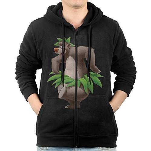 [GHGH Men's The Jungle Book Bear Baloo 456 Zip-Up Hoodie Jackets Black Size XL] (The Jungle Book Baloo Costume)