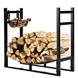 VIVOHOME 3ft Heavy Duty Indoor Outdoor Firewood Storage Log Rack with Kindling Holder
