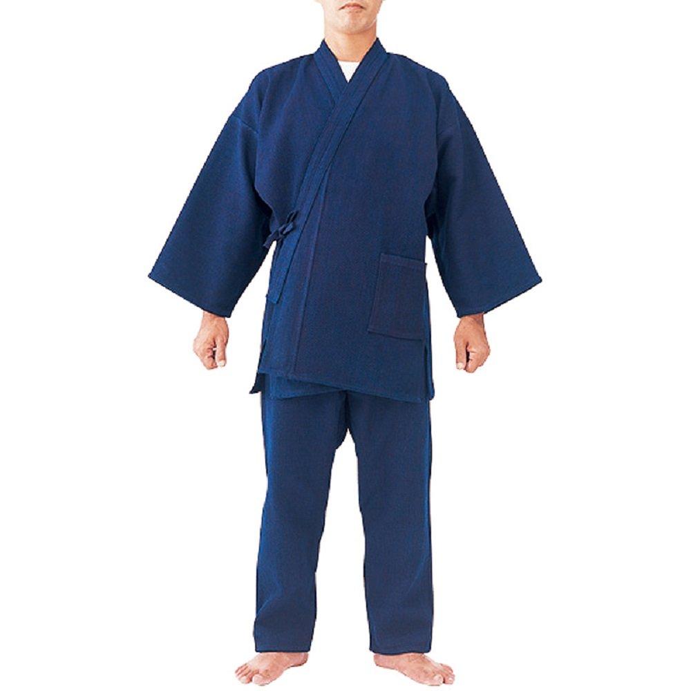 藍染めの刺子作務衣 M B01I1XXURM