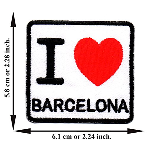 I Love Barcelona Embroidered Applique Iron on Patch T-shirt Cap Jeans (Barcelona Jean)