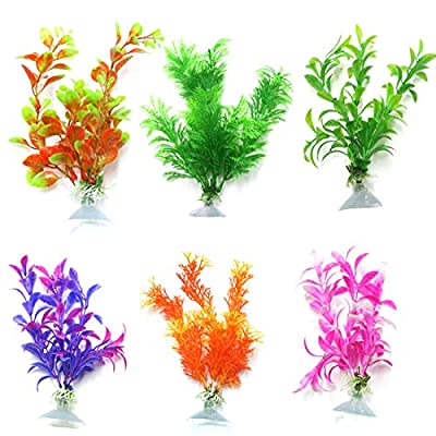 uxcell aquarium plastic plant 6 pieces freshwater multicolor suction cup