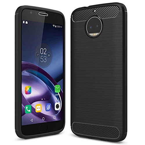 Moto G5S Plus Case, Moto G5S+ Case - Suensan TPU Shock Absorption Technology Raised Bezels Protective Case Cover for Motorola Moto XT1806 (USA) (TPU Black) ()