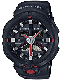 G Shock Urban Black and Red Resin Mens Watch GA500-1A4