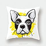 Custom Satin Pillowcase Protector Portrait Of French Bulldog On Yellow Splash Hand Drawn Domestic Pet Dog Illustration 496401850 Pillow Case Covers Decorative