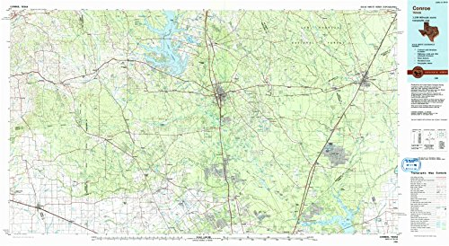 Conroe TX topo map, 1:100000 scale, 30 X 60 Minute, Historical, 1985, updated 1992, 24.1 x 43.9 IN - - Shopping Woodland Hills