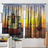 Anzhutwelve Nautical,Curtains and Drapes Tanker Ship Oil Platform 42'X72' Print Customized Curtains