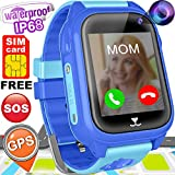 "Kids Smart Watch Phone with FREE SIM CARD GPS Tracker Watch for Girls Boys IP68 Waterproof Fitness Smartwatch Pedometer Camera Anti-Lost SOS Alarm Clock 1.54"" Touch Screen Child Sport Wrist Watch Game"